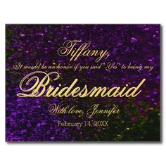 Will You Be My Bridesmaid? Glitter Purple