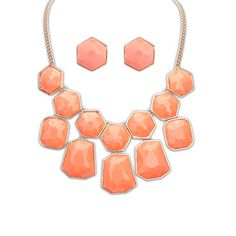 Native Watermelon Red Gemstone Decorated Geometrical Shape Design Alloy Jewelry Sets http://www.asujewelry.com
