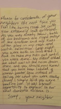 Couple Gets Perfect Note From Neighbor After Night Of Extremely Loud Sex Belly Laughs
