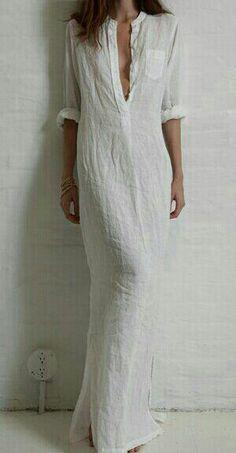 Hermoso vestido en liencillo procesado. LiCo.