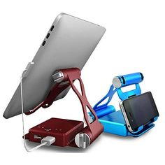 Podium Style Stand with an extended 10,500 mAh battery backup up to 200% for your iPad 1, 2, 3, and 100% for iPad 4, Air1, Air2 ,300% on iPhone 4/5/6 & Plus and other smart gadgets. The stand folds like origami work, unfolds to create a perfect viewing angle and neatly folds back to small box that can be carried anywhere. The base of the stand is a built in charger with 2 USB charging ports that can be used for charging 2 devices simultaneously like your iPad and iPhone.
