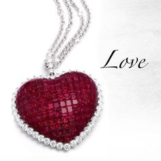 Stenzhorn ruby and diamond heart pendant - for invisible setting technique lovers! Red Jewelry, Heart Jewelry, I Love Jewelry, Jewelry Design, Jewelery, Ruby Heart Necklace, Diamond Cross Necklaces, Initial Pendant Necklace, Diamond Heart