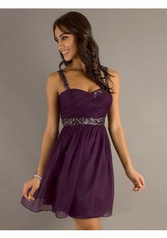 A-line Straps Sleeveless Chiffon Grape Homecoming Dresses With Beading #FK399