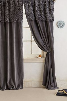 Braided Velvet Curtain - anthropologie.com. depending on what we decide - could be dining room.