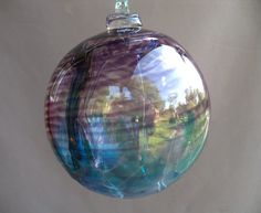 Hand Blown Art Glass Witch Ball/Ornament/Suncatcher by Route4glass, $32.00