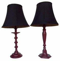 One Kings Lane - First Impressions - Maroon Painted Brass Lamps, Pair