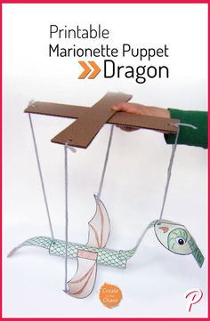 Easy Crafts for Kids - Printable Dragon Marionette - Quick DIY Ideas for Children - Boys and Girls Love These Cool Craft Projects - Indoor and Outdoor Fun at Home - Cheap Playtime Activities Diy Projects For Kids, Easy Crafts For Kids, Craft Activities For Kids, Easy Diy Crafts, Diy For Kids, Fun Diy, Kids Fun, Craft Projects, Preschool Crafts