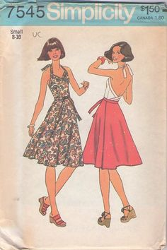 MOMSPatterns Vintage Sewing Patterns - Simplicity 7545 Vintage 70's Sewing Pattern FOXY Sweetheart Neckline Bare Back Wrap Around Halter Top, Wrap Skirt, 2 Piece Sun Dress