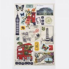 London Collage Tea Towel