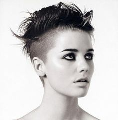 Short hair, shaved sides. #texture