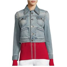 Roberto Cavalli Embroidered Studded Denim Jacket ($1,625) ❤ liked on Polyvore featuring outerwear, jackets, light washed denim, embroidered jean jacket, studded jean jacket, blue denim jacket, jean jacket and studded denim jacket