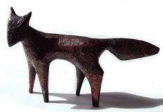 'Fox' by British artist & printmaker Henrietta Corbett. Raku fired ceramic, 18 x 25 cm. via the artist's site