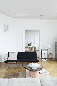 Living room with parquet floor - #scandinavian #interiors
