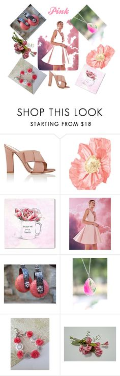"""Pink"" by mabellerosedesigns ❤ liked on Polyvore featuring Gianvito Rossi, Oliver Gal Artist Co. and Ted Baker"