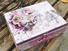 Altered wooden box for a girl - Pudełko dla dziewczynki  with Flying Unicorn November KOM