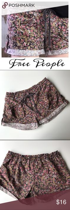 """Free People Floral Cotton Shorts Red Black Brown Free People comfy soft floral shorts. Cute pocket details. Size 4 Waist: 15.5"""" side to side Rise: 7.5"""" Inseam: 4"""" (Inventory H5) Free People Shorts"""