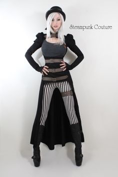 Steampunk Couture-Black and white thin stripe skinny fit pants-$49 - OMG, striped pants! I AM GETTING THESE! i wonder if they'll take a tea stain.