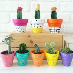 Lovely DIY pattern-painted pots - this would make a cute mother's day or father's day present too! Flower Pot Art, Flower Pot Design, Flower Pot Crafts, Painted Plant Pots, Painted Flower Pots, Painted Pebbles, Diy Flowers, Flower Vases, Deco Cactus