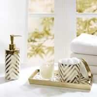 Madison Park Gold Silver Chevron 3 Piece Ceramic Bath Accessory Set 2 Color Options