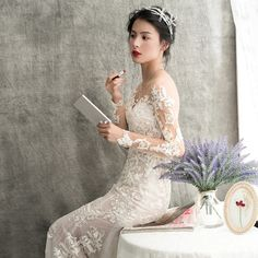 7af4ab56a4 Lace long sleeve off-shoulder simple slim mermaid tail wedding dress Kość  Słoniowa