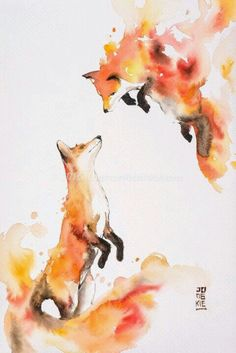Image of Hot Love by Luqman Reza Mulyono (Jongkie) - foxes watercolor, fox art Animal Paintings, Animal Drawings, Cool Drawings, Sketches Of Animals, Painting & Drawing, Watercolor Paintings, Watercolor Drawing, Animal Watercolour, Fox Painting