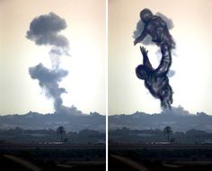 Palestinians Turn Smoke From Israeli Rocket Strikes Into Powerful Images,,gaza-israel-rocket-strike-smoke-art-24