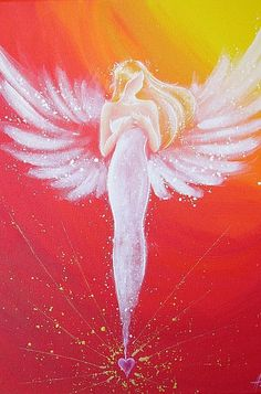Limited angel art poster connected by the heart por HenriettesART