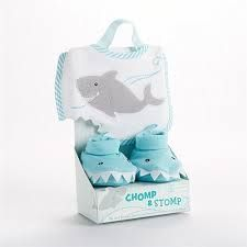 Take a bite out of mealtime with this adorable Chomp & Stomp Shark Bib and Booties Gift Set. The whimsical set includes an embroidered bib with a shark bite cut-out edge and a pair of fun toothy shark booties presented in a lovely striped gift box. Baby Set, Baby Gift Sets, Baby Shower Themes, Baby Shower Gifts, Shower Ideas, Turquoise Baby Showers, Cute Baby Gifts, Cotton Gifts, Baby Shark