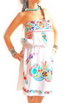 Handmade Mexican embroidered dresses and vintage treasures from Aida Coronado Mexican wedding dress strapless hand embroidered A heart in every piece