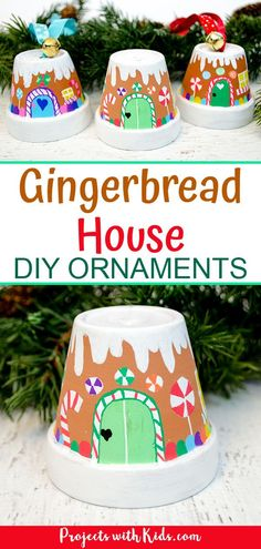 The Sweetest Gingerbread House Ornaments Kids Can Make These ginge. - The Sweetest Gingerbread House Ornaments Kids Can Make These gingerbread ornaments ar - Christmas Crafts For Adults, Crafts For Teens To Make, Christmas Ornaments To Make, Handmade Christmas, Holiday Crafts, Christmas Diy, Spring Crafts, Diy Ornaments For Kids, Kids Christmas Activities