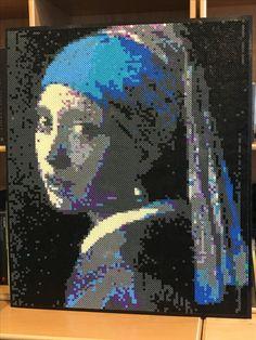 Perler beads portrait, girl with the pearl earring, Johannes Vermeer