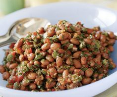Pink Beans with Roasted Red Pepper, Lemon  Fresh Herbs Recipe