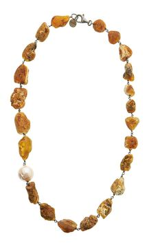 Sterling Silver 925 Amber & Pearl Handmade Silver, Amber, Beaded Necklace, Pearls, Sterling Silver, Chain, Gold, Jewelry, Beaded Collar