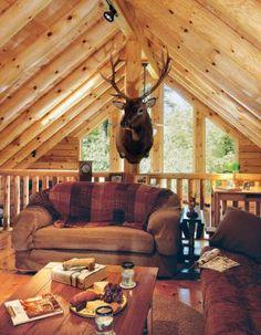 Log home loft with deer