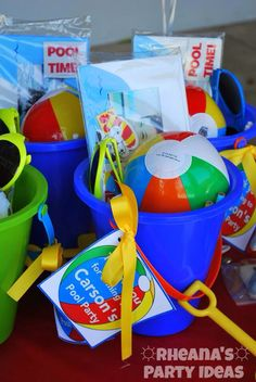 Pool Party Gift Bag Ideas party favors for the kids i found a bag of 3 whale bath toys at Birthday Pool Party For My Goody Bags I Had To Use A Cheap Beach Pail