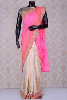 Light pink & beige graceful silk saree with dull gold border -SR20269 South Silk Sarees, Mysore, Pink Beige, Ikat, Sari, Gold, Fashion, Saree, Moda