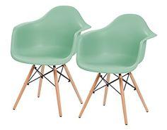 Retro Mid-Century Modern Shell Armchair with Wood Eiffel Legs, 2 Pack, Mint Green