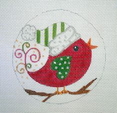 Handpainted Needlepoint Canvas Red Holiday Bird