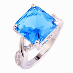Fashion Rings Saucy Blue Topaz 925 Silver Ring For Anniversary Size 6 7 8 9 10 Wholesale Free Shipping For Unisex Jewelry