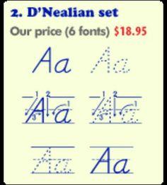 The complete set of classroom fonts includes:  6 Print Writing Fonts 6 D'Nealian-Style Fonts 6 Cursive Writing Fonts 2 Phonics Fonts 2...