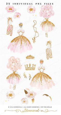 An enchanted set including a ballet and princess theme combined into one! This hand painted clip art collection includes 2 chic whimsical ballerina illustrations, tiara, crown, ballet shoes, soft romantic peonies flowers, girly pearl necklace. The color scheme is romantic and feminine in soft pink, champagne, yellow and gold.  You will receive 25 individual graphics to create your own design arrangement and layout.  The clip art set is perfect for scrap booking, card making, website…