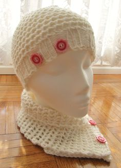 Lacey Scarflet and a Lacey Mock Crochet Hat to match Knitting Loom Instructions