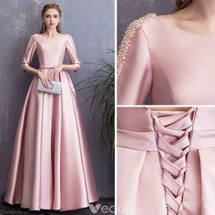 Chic / Beautiful Candy Pink Evening Dresses 2018 A-Line / Princess Bow Pearl Sc. Chic / Beautiful Candy Pink Evening Dresses 2018 A-Line / Princess Bow Pearl Scoop Neck Backless 3 Evening Dress Patterns, Pink Evening Dress, Pink Dress, Evening Dresses, Formal Dresses, Pretty Dresses, Beautiful Dresses, Hijab Dress Party, Dress Outfits