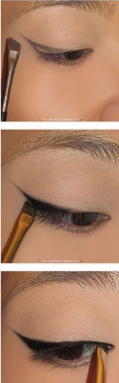 Use an angled brush to create the line then gel liner and mac 211 brush to fill it in! - Use an angled brush to create the line then gel liner and mac 211 brush to fill it in! Makeup Tutorial Eyeliner, Cat Eye Makeup, Eyeliner Looks, Winged Eyeliner, Skin Makeup, Eyeliner Liquid, Eyeliner Application, Liquid Makeup, Eyeliner Makeup