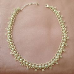 Dainty Cream Hand Tatted Necklace with Pearly by TheBlackPetunia, £16.00