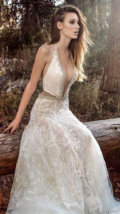 galia lahav gala 4 2018 bridal sleevelesss halter deep plunging v neck full embellishment sexy a  line wedding dress open back chapel train (908) zv -- Gala by Galia Lahav 2018 Wedding Dresses
