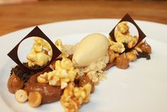 Chocolate Peanut Cremoso, Caramel Popcorn, Candied Peanuts, Dulce de Leche Ice Cream, Chocolate Soil, Shortbread Crumble, Dulce de Leche by Pastry Chef Antonio Bachour, via Flickr