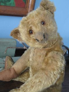 """SOLD Antique 13"""" Steiff Bear c20's Gold Mohair- Loved, from Ragbaby Antique Textiles at Ruby Lane."""