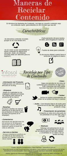 #Infografia #CommunityManager Maneras de reciclar tu contenido #TAVnews