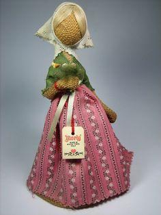 Rupfenpuppe, mit Etikett von Morly Italy  Vintage, Deko, Jute, Handarbeit 19cm